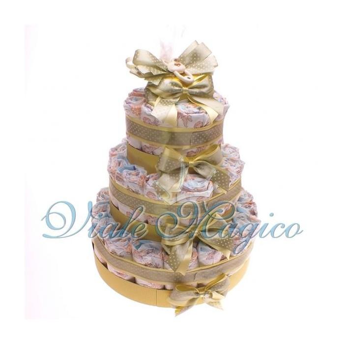 Preferenza Torta Pannolini Online da 37 Pezzi per Nascita Gemelli di colore Giall CR21