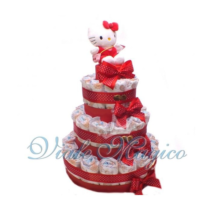 Bomboniere Articoli Regalo Battesimo Torta Pannolini 37 Pezzi con Hello Kitty