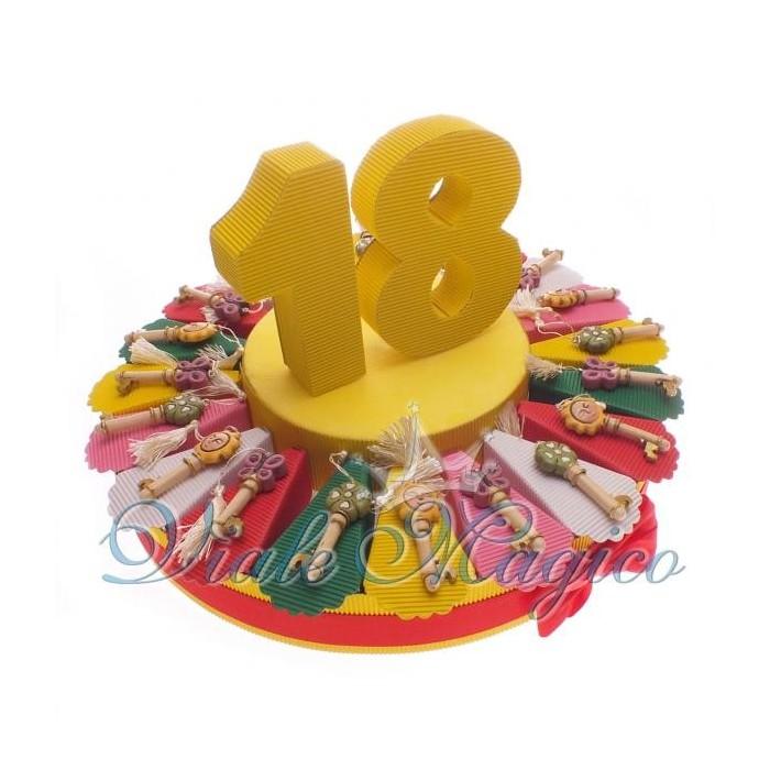 Bomboniere Torta da 20 pezzi completa Bomboniera Chiave con Nappina Compleanno