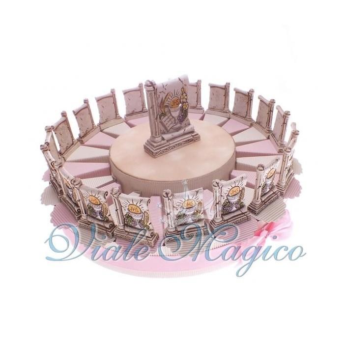 Bomboniere Torta Portaconfetti Rosa da 20 Pezzi Icona Calice Prima Comunione