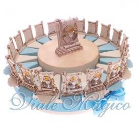 Torta Portaconfetti Celeste da 20 Pezzi Icona Calice Prima Comunione