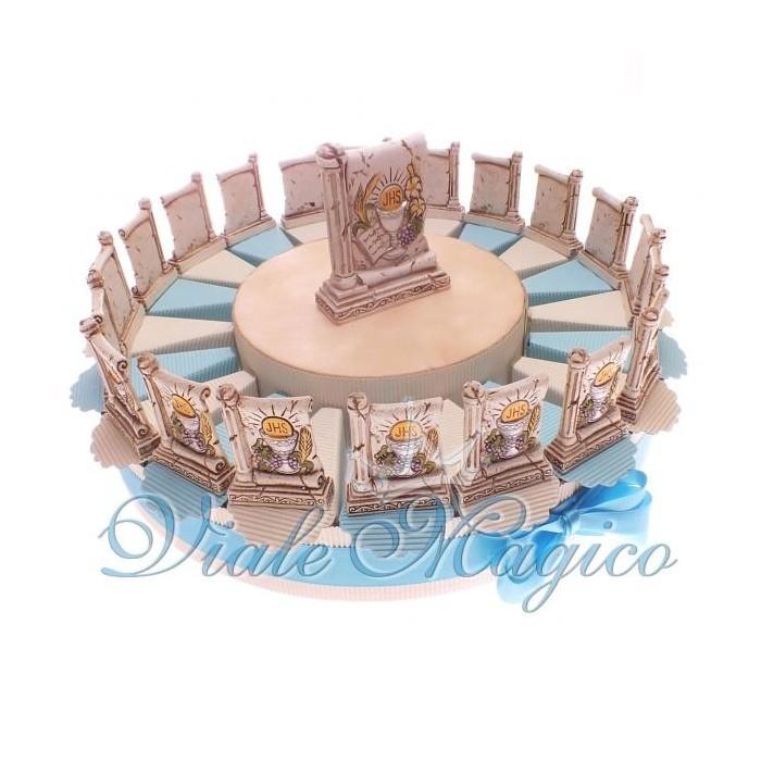 Torta Bomboniere Portaconfetti Bimbo da 20 Pezzi Icona Calice Prima Comunione