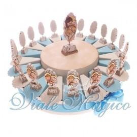 Torta Portaconfetti Celeste da 20 Pezzi Piedistallo con Sacra Famiglia