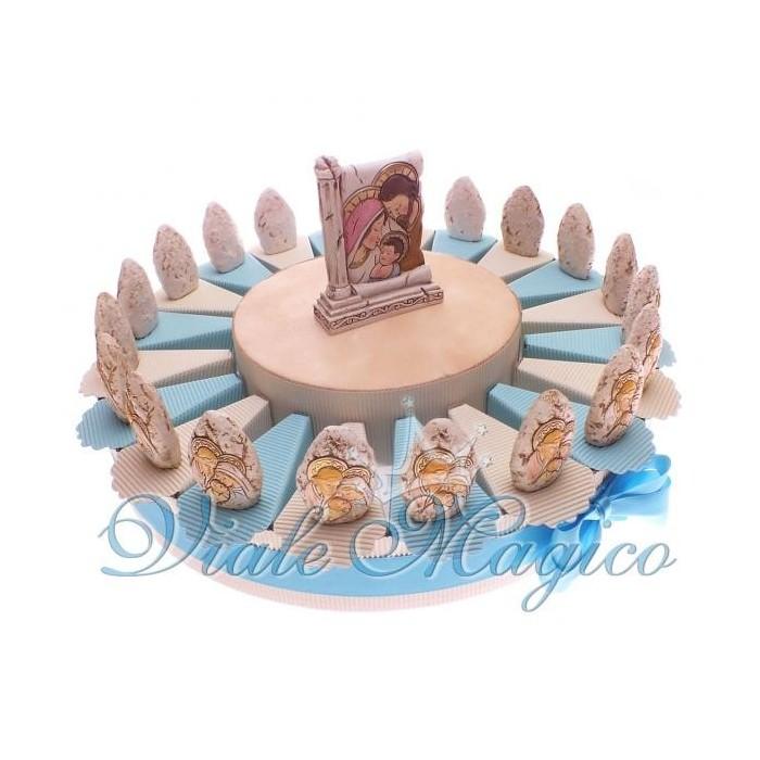 Bomboniera Torta Confetti da 90 Pezzi con Portachiavi Sposi Su Torta