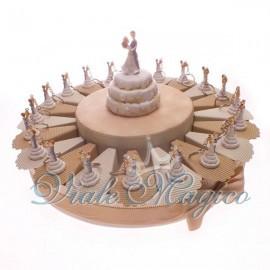 Torta Bomboniere Confetti da 20 Pezzi con Portachiavi Sposi Matrimonio Promessa