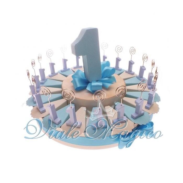 Torta di Confetti da 20 Pezzi Memo Clip Numero 1 Celeste