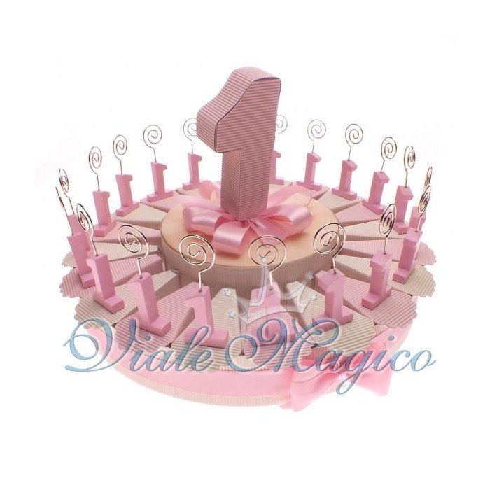 Bomboniere Compleanno Torta di Confetti da 20 Pezzi Memo Clip Numero 1 Rosa