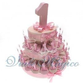 Bomboniere Compleanno Torta di Confetti da 35 Pezzi Memo Clip Numero 1 Rosa
