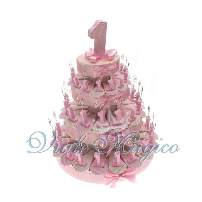 Bomboniere Primo Compleanno Torta di Confetti 60 Pezzi Memo Clip Numero 1 Rosa