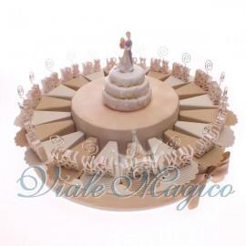 Torta confetti da 20 pezzi con Bomboniera MemoClip W Gli Sposi
