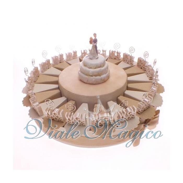 Bomboniera Torta confetti da 20 pezzi con Bomboniera MemoClip W Gli Sposi