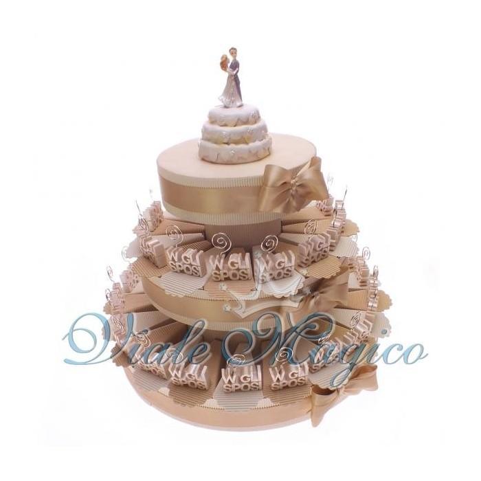 Bomboniera Torta confetti da 35 pezzi con Bomboniera MemoClip W Gli Sposi