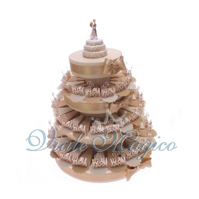 Bomboniera Torta confetti da 60 pezzi con Bomboniera MemoClip W Gli Sposi