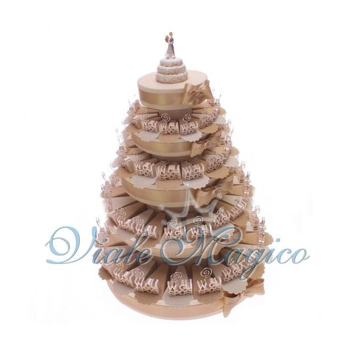 Bomboniera Torta di confetti da 90 pezzi con Bomboniera MemoClip W Gli Sposi