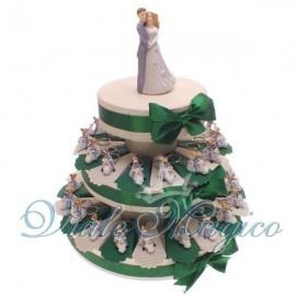 Bomboniere Torta di confetti da 35 pezzi con Portachiavi Sposi Vespa Matrimonio