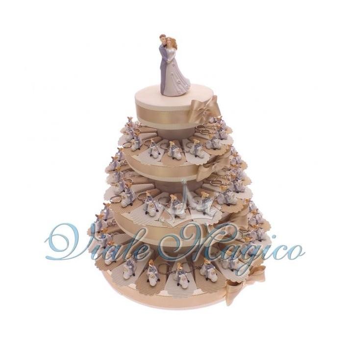 Bomboniere Torta di confetti da 60 pezzi con Portachiavi Sposi Vespa Matrimonio