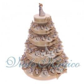 Bomboniere Torta di confetti da 90 pezzi con Portachiavi Sposi Vespa Matrimonio