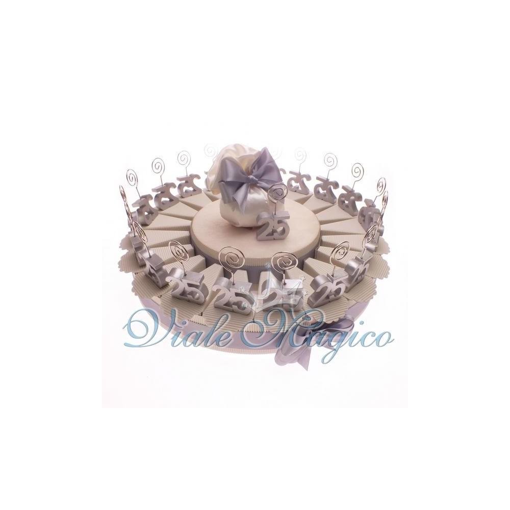 Preferenza Torta Confetti da 20 Bomboniere MemoClip per 25° Anniversario di Nozze FE01