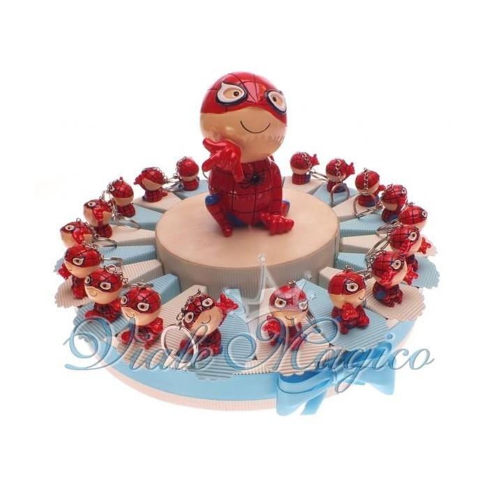 Bomboniere Primo Compleanno Torta di confetti da 20 Portachiavi Spiderman Baby