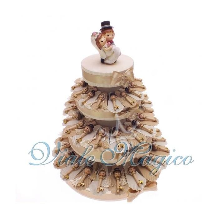 Bomboniere Torta confetti da 60 Bomboniere Chiave Sposini per Matrimonio
