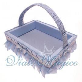 Cesto Porta Sacchetti con pois Celeste per Battesimo