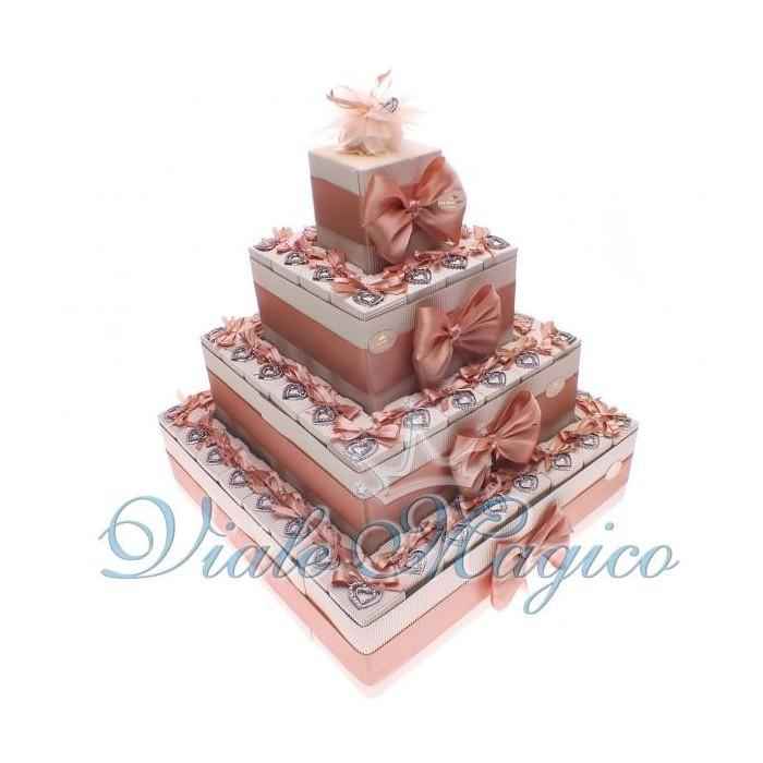 Torta Bomboniere Portaconfetti Battesimo 60 Bomboniere Ciondolo Cuore Strass