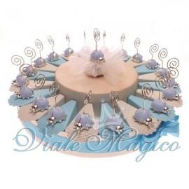 Torta Portaconfetti con 20 Bomboniere Coccinella Celeste Memoclip