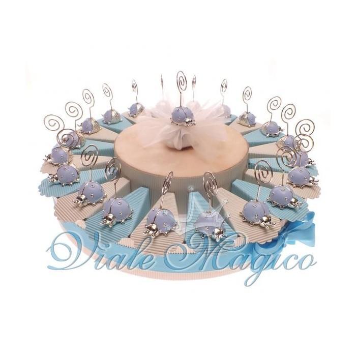 Torta Porta Confetti Nascita Battesimo 20 Bomboniere Coccinella Bimbo Memoclip