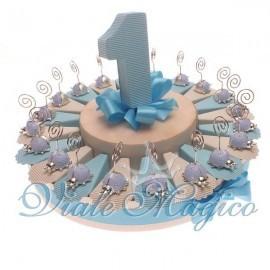 Torta 20 pz Bomboniere con Coccinella Celeste Memoclip Primo Compleanno