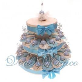 Torta Portaconfetti con 35 Bomboniere Coccinella Celeste Memoclip