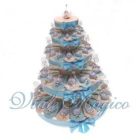 Torta Portaconfetti con 90 Bomboniere Coccinella Celeste Memoclip