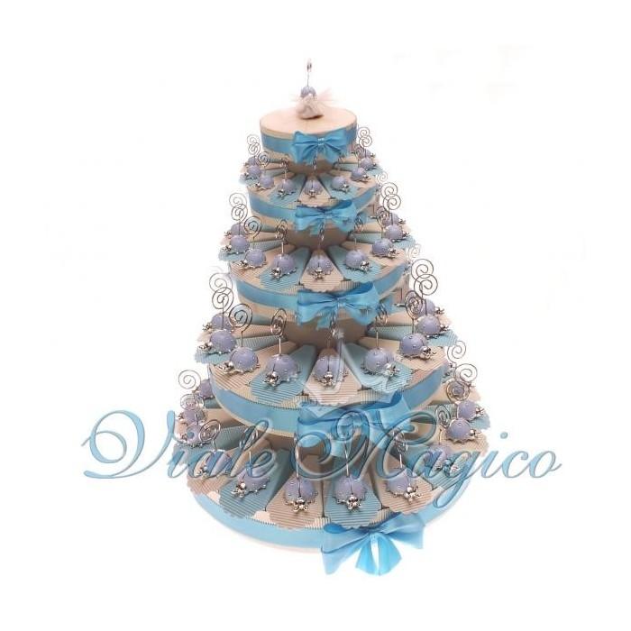 Torta Portaconfetti con 90 Bomboniere Coccinella Bimbo Memoclip