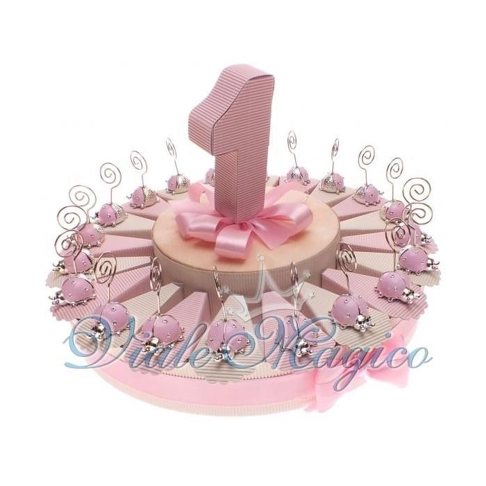 spesso Bomboniere con 20 Coccinella Rosa Memoclip Primo Compleanno NE61