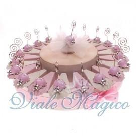 Torta Portaconfetti da 20 Bomboniere Memoclip Coccinella Rosa