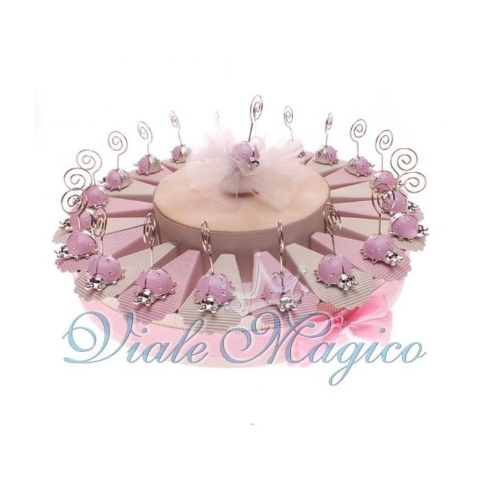 Torta Porta Confetti Nascita Battesimo 20 Bomboniere Memoclip Coccinella Bimba