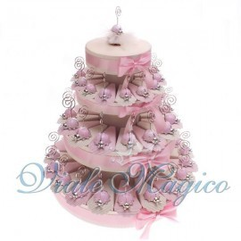 Torta Portaconfetti 60 Bomboniere Memoclip Coccinella Rosa per Nascita