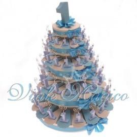 Torta di Confetti da 90 Pezzi Memo Clip Primo Compleanno Celeste