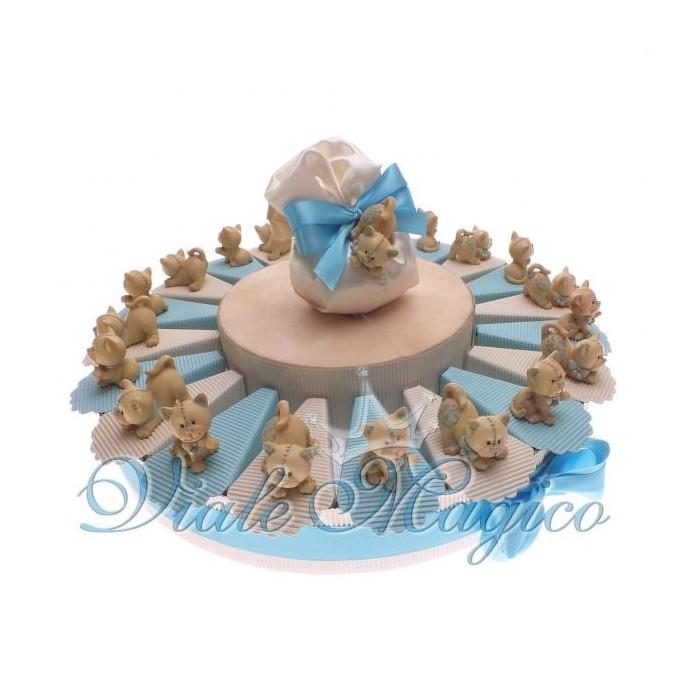 Bomboniere Nascita Battesimo Torta di Confetti da 20 Bomboniere Gattino