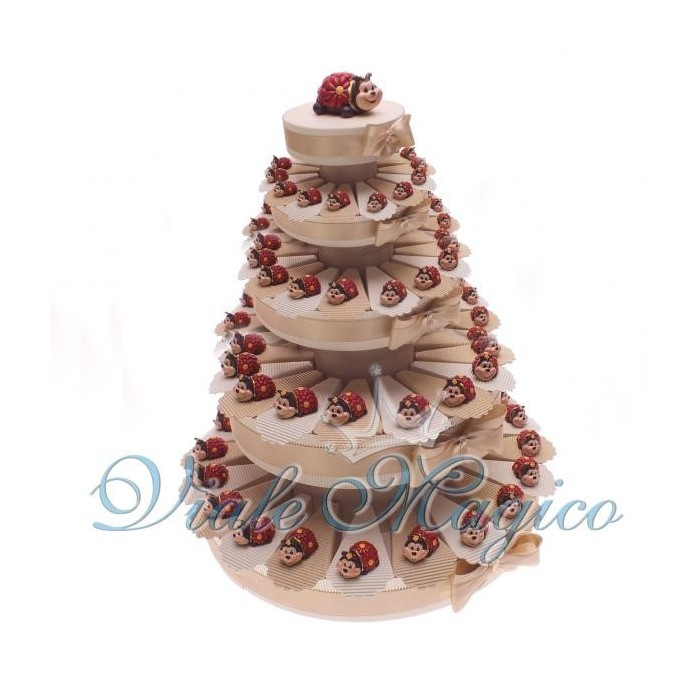 Torta di Bomboniere 90 Coccinelle con Margherite per Compleanno Laurea