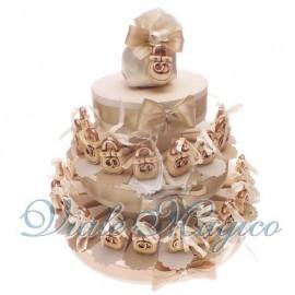 Torta Bomboniere da 35 Lucchetti con Fedi per Matrimonio