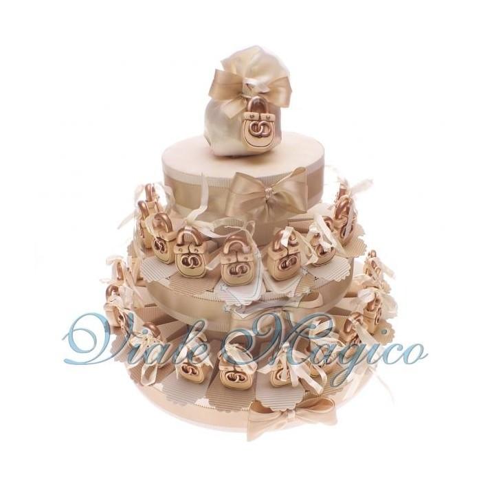 Bomboniere Torta Bomboniere da 35 Lucchetti con Fedi per Matrimonio