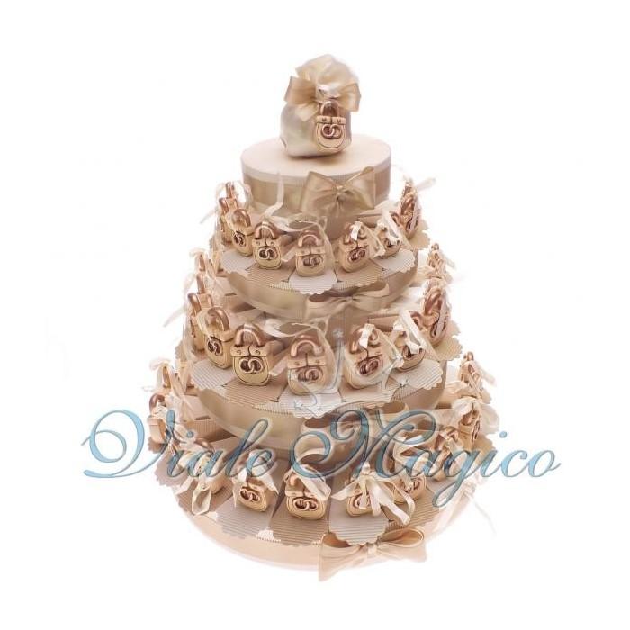 Bomboniere Torta Bomboniere da 60 Lucchetti con Fedi per Matrimonio