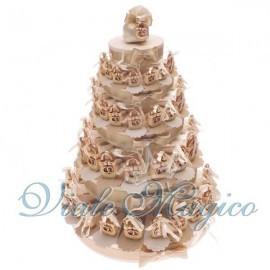 Torta Bomboniere da 90 Lucchetti con Fedi per Matrimonio