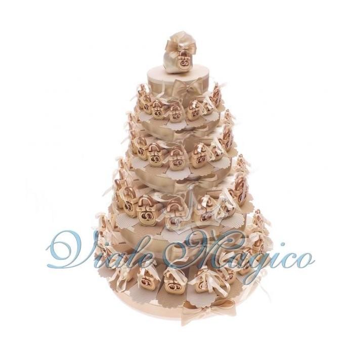 Bomboniere Torta Bomboniere da 90 Lucchetti con Fedi per Matrimonio