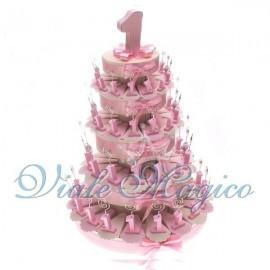 Torta di Confetti da 90 Pezzi Memo Clip Primo Compleanno Rosa