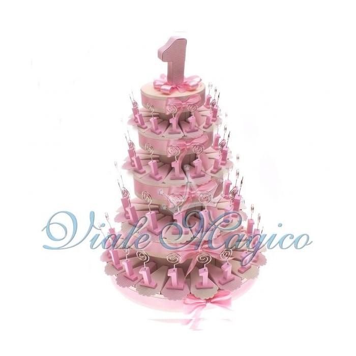 Bomboniere Torta di Confetti da 90 Pezzi Memo Clip Primo Compleanno Bimba