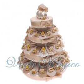Torta Portaconfetti con 60 Bomboniere Portachiavi Pianoforte
