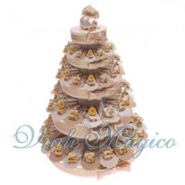 Torta Portaconfetti con 90 Bomboniere Portachiavi Grammofono