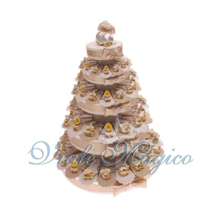 Torta Bomboniera Portaconfetti con 90 Bomboniere Portachiavi Grammofono