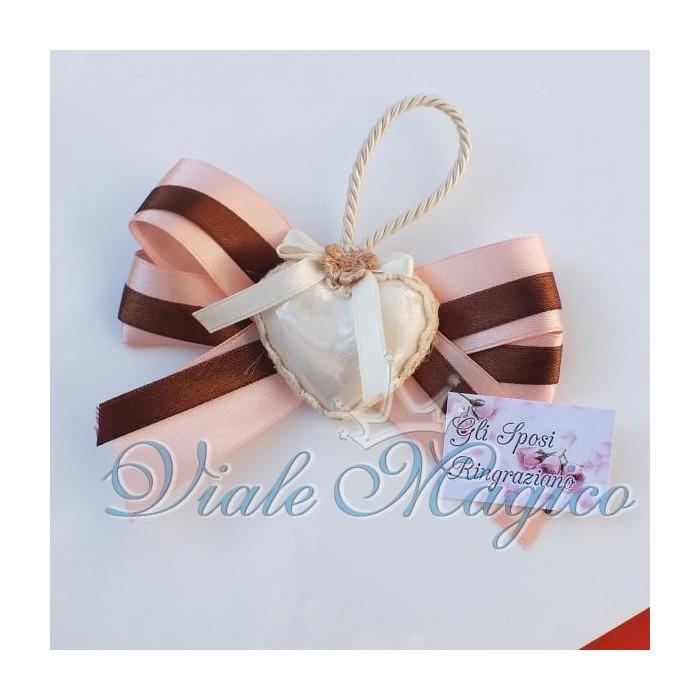 Bomboniera Segnaposto Cuore Bianco Madreperla effetto Porcellana per Matrimonio